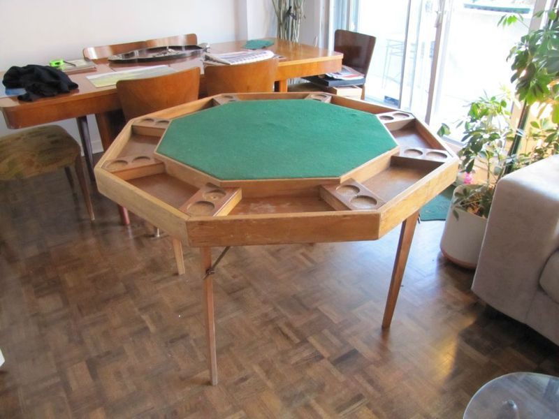 Poker table montreal digs 1940s folding poker table useful for small spaces a 40s folding wood poker table with felt center montreal asking 220 appeal watchthetrailerfo