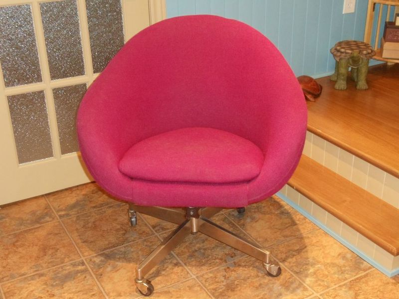 Raspberry Midcentury Rolling Armchair A Vintage U002760s Or U002770s Rolling  Upholstered Shell Chair In Raspberry Red, On Chrome Legs With Casters.