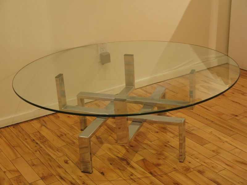 Midcentury Glass Aluminium Coffee Table Cool Sculptural