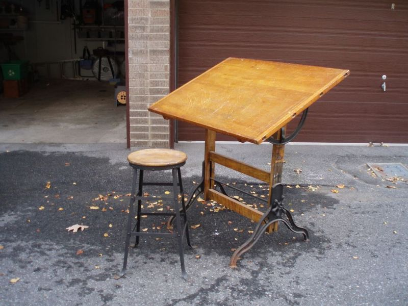 Great Looking Vintage Wood Tilt top Drafting Table On Iron Base