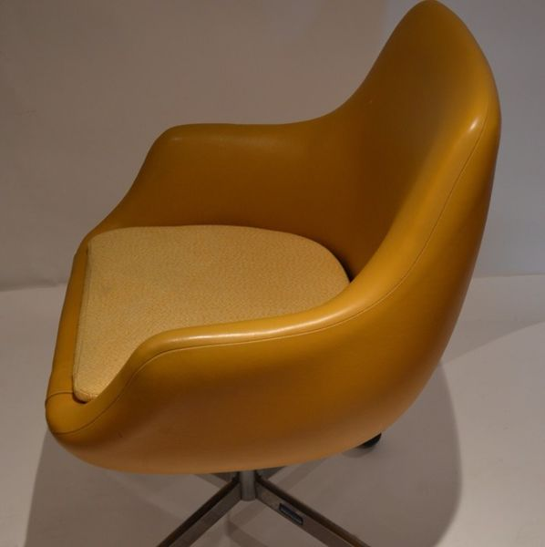 Mustard Yellow Vinyl Swivel Chairs