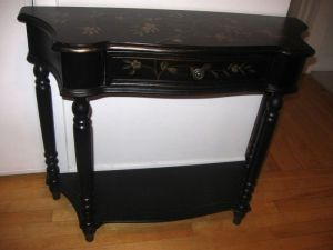 Black.Floral.Entry.Console.Table.Mirror