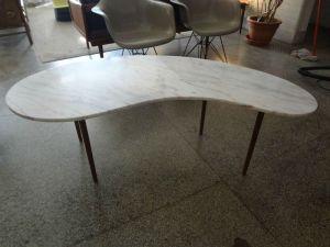Italy.Kidney.Marble.Teak.Coffee.Table