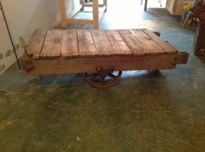 Vintage.Printer.Industrial.Rolling.Cart.Coffee.Table