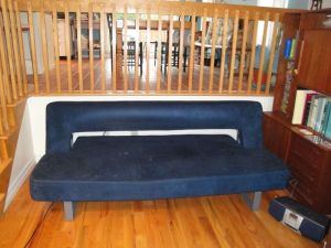 Blue.Suede.Sleeper.Sofa