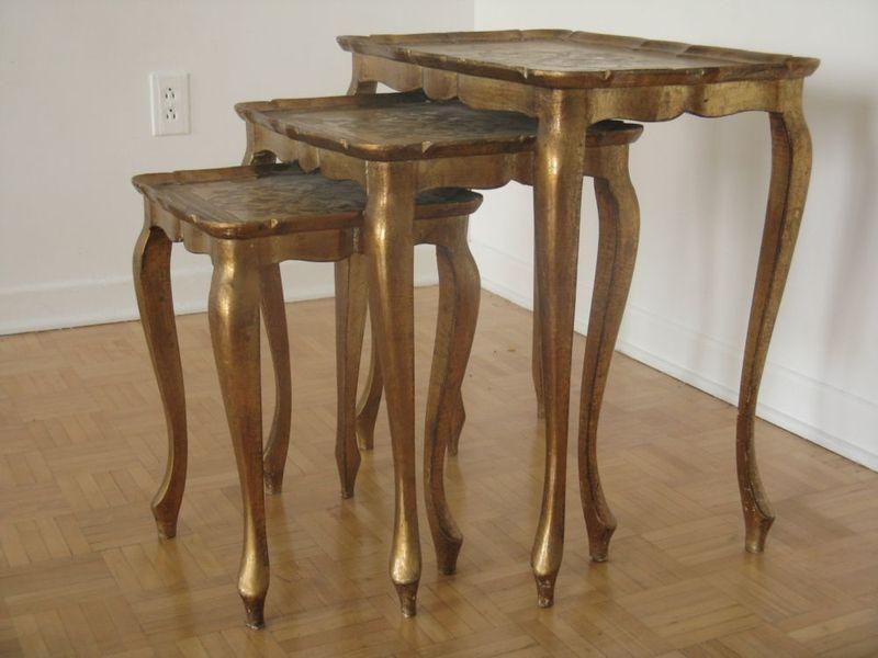... Dosey Doh Vintage Furniture Montreal Montreal Digs Italystingtablesgold  Watchthetrailerfo Italian Florentine Nesting Tables ...