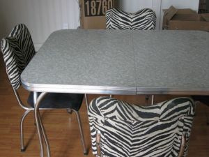 Retro.Chrome.Zebra.Kitchen.Table.Dinette