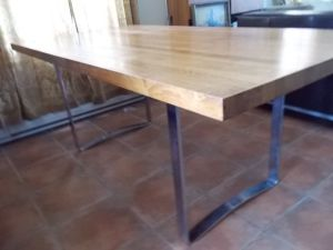 Butcher.Block.Midcentury.Chrome.Legs.Dining.Table