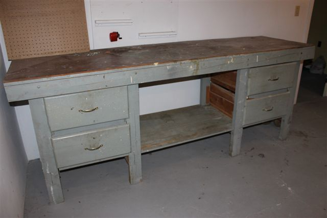 Innovative Antique Woodworking Vintage Bench With Vice And Shelf