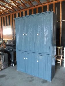Beadboard.Blue.Kitchen.Armoire.Vintage.Cupboard