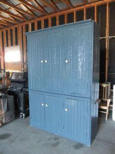 Beadboard.Blue.Kitchen.Armoire.Vintage.Cupboard