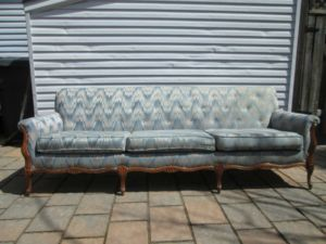 Blue.Flamestich.French.Provincial.Sofa