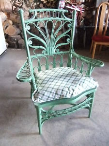Peacock.Wicker.Chair.Green