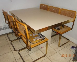 Breuer.Brass.Dining.Chairs.Table