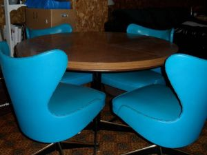 Retro.Turquoise.Swivel.Chairs