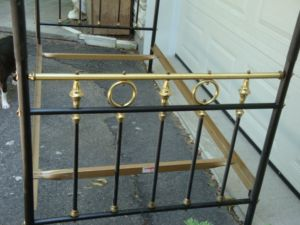 Brass.Black.Antique.French.Canopy.Bed