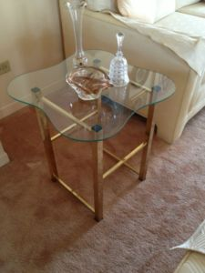 Brass.Glass.Clover.Side.Table