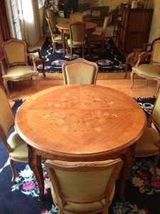 Rosewood.Marquetry.Floral.Dining.Table.Chairs