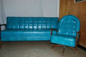 Turquoise.Sofa.Bed.Chair.Vinyl