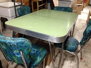 Jade.Green.Arborite.Formica.Chrome.Table.Chairs.Retro.Vintage