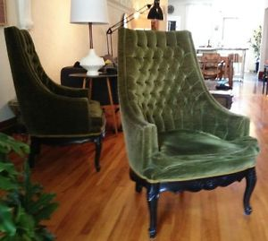 Pair.Olive.Tufted.Armchairs