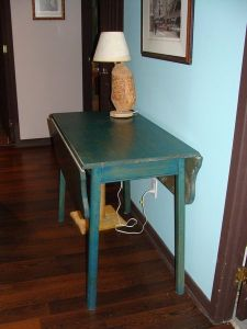 Rustic.Blue.Dropleaf.Hall.Table