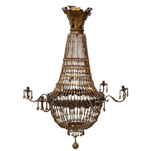 1stDibs.Wood.Bead.Chandelier.3