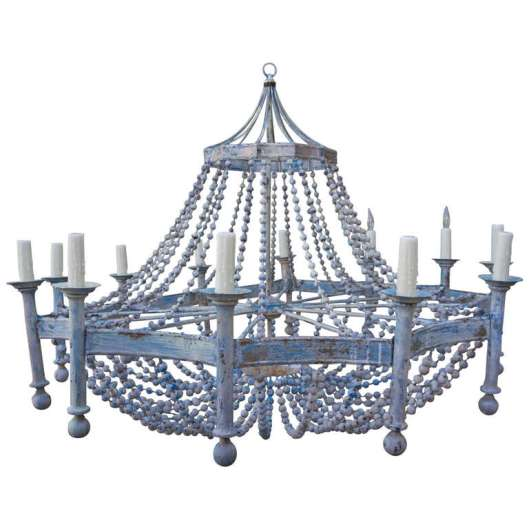 1stDibs.Wood.Bead.Chandelier.4