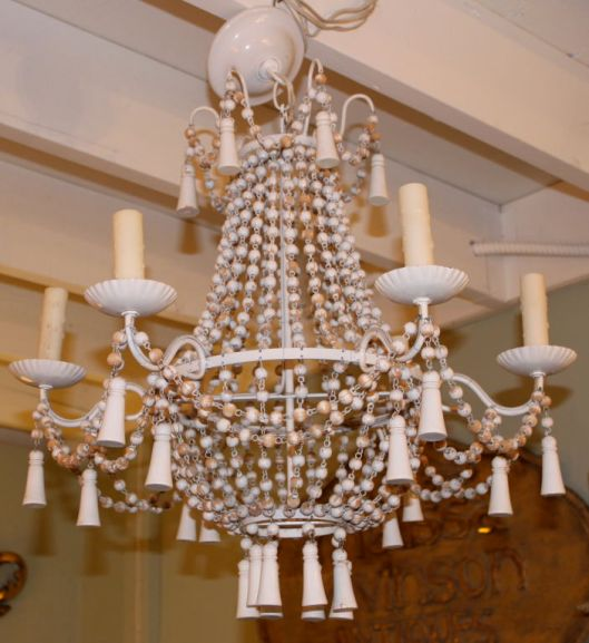 1stDibs.Wood.Bead.Chandelier