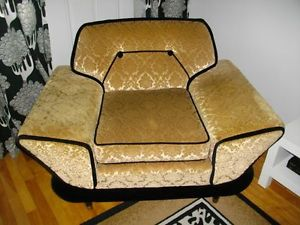 Gold.Brocade.1960.Black.Chair.Hollywood.Regency