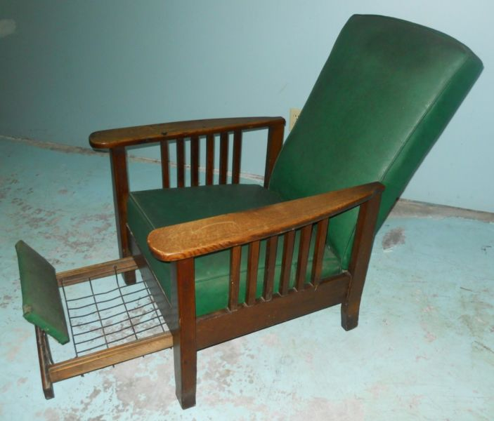 Morris.Chair.Footrest.Recliner - Sitting Pretty Montreal Vintage Furniture  Montreal Digs - - Morris Reclining Chair Antique Antique Furniture