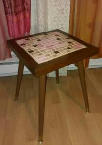 Pink.Tile.Accent.Table.Retro